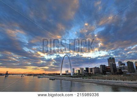 St. Louis, Missouri skyline and Gateway Arch from Eads Bridge.