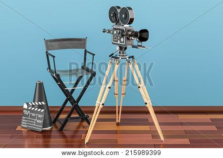 Cinema concept. Movie camera with film reels chair megaphone and clapperboard on the wooden floor 3D rendering