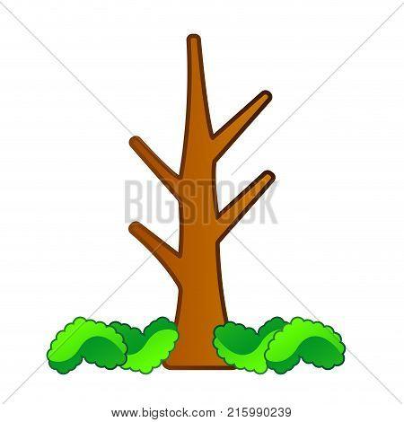 Comic naked tree isolated on white background, Vector illustration