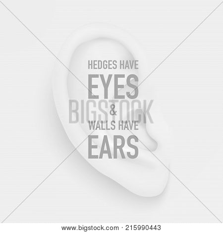 Vector background or poster with realistic human ear closeup and quote - Hedges have eyes and walls have ears. Poster design with body part, human organ, template for web, app, placard, infographics etc.