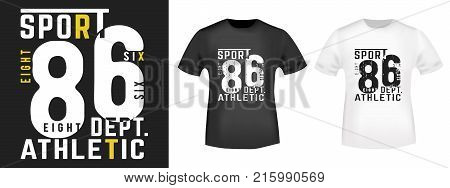 T-shirt print design. Athletic Sport vintage stamp and t shirt mockup. Printing and badge applique label t-shirts jeans casual wear. Vector illustration.