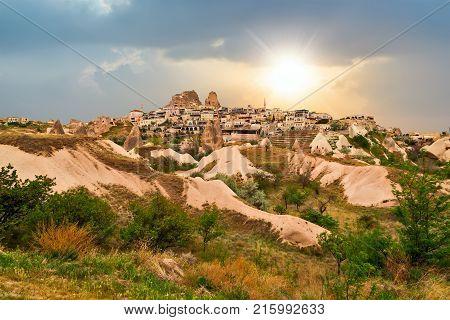 Volcanic Tuff Stone Rocks In Cappadocia, Anatolia, Turkey.