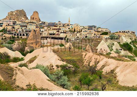 Mountain Landscape In Cappadocia, Goreme National Park, Turkey.