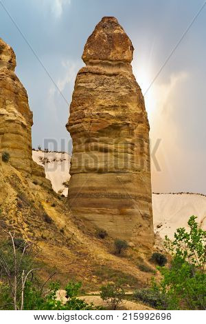 Love Valley Rock Formations, Mountain Landscape In Cappadocia, Turkey