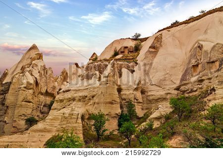 Volcanic Rock Formations In Cappadocia, Anatolia, Turkey.