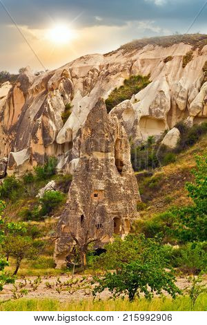 Rock Cave Landscape Cappadocia Mountain Rock Scenery, Anatolia, Turkey.