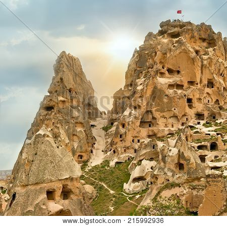Cave Towns, Volcanic Rock Formations In Cappadocia, Anatolia, Turkey.