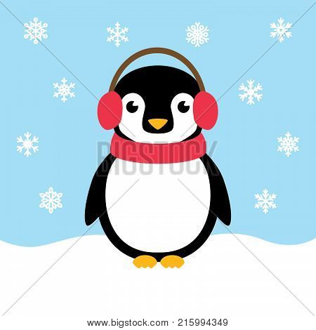 Cute penguin on a snow bluff wearing ear mugs and a scarf with snowflakes falling around him.