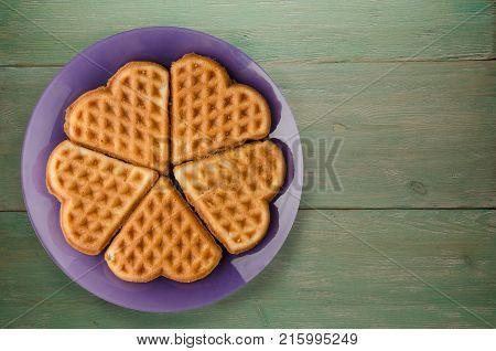 Belgian Waffles Wooden Background