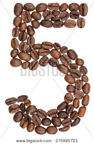 Arabic Numeral 5, Five, From Coffee Beans, Isolated On White Background