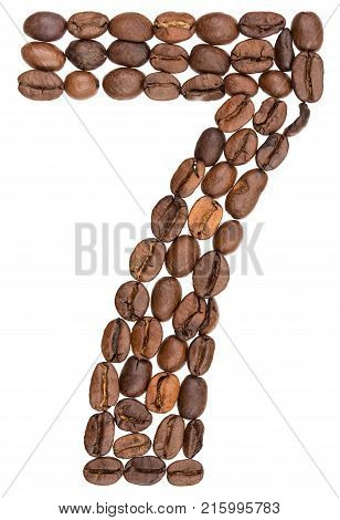 Arabic Numeral 7, Seven, From Coffee Beans, Isolated On White Background