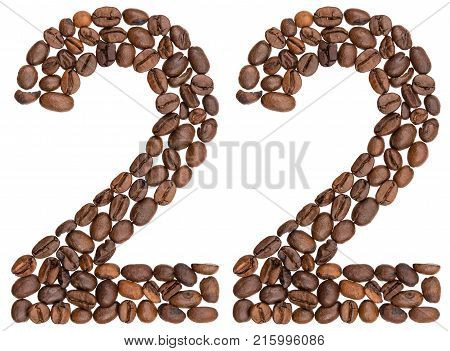 Arabic Numeral 22, Twenty Two, From Coffee Beans, Isolated On White Background