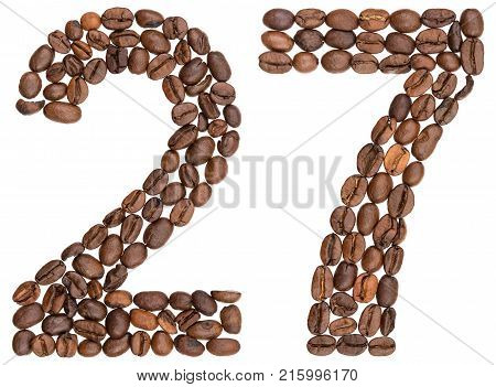 Arabic Numeral 27, Twenty Seven, From Coffee Beans, Isolated On White Background