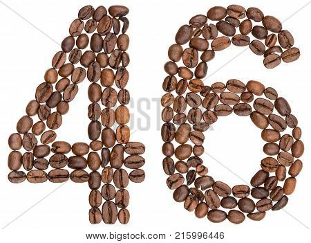 Arabic Numeral 46, Forty Six, From Coffee Beans, Isolated On White Background