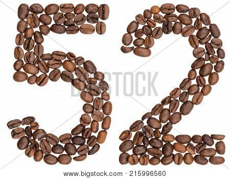 Arabic Numeral 52, Fifty Two, From Coffee Beans, Isolated On White Background