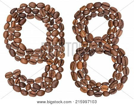 Arabic Numeral 98, Ninety Eight, From Coffee Beans, Isolated On White Background