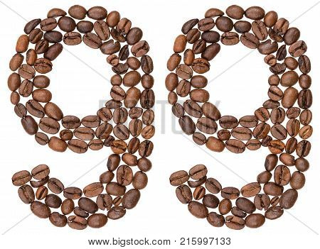 Arabic Numeral 99, Ninety Nine, From Coffee Beans, Isolated On White Background