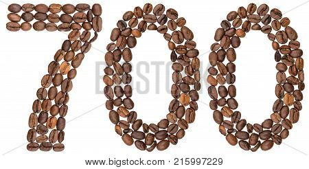 Arabic Numeral 700, Seven Hundred, From Coffee Beans, Isolated On White Background