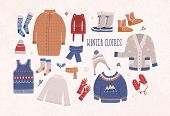 Collection of winter clothes and outerwear isolated on light background - woolen jumper, cardigan, coat, snow boots, scarf, hat, mittens. Bundle of seasonal clothing. Colorful vector illustration poster