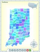 Indiana State Map with Community Assistance and Activates Icons Original Illustration poster