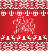 Vector knitted seamless pattern with lettering Feliz Navidad translated Merry Christmas. Happy Holidays pixel endless frame.Colorful Nativity and New Year elements for greeting card template. poster