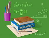 Physics and mathematics classes isolated vector illustration on green. Cartoon style textbooks, various stationery items along with formulas poster