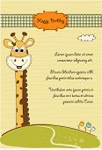 birthday greeting card with giraffe in vector format poster