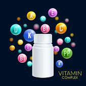 Vitamin complex pill and 3D plastic bottle design template for vitamin or dietary supplement advertising. Vector vitamin ball bubbles with letters of A, B and C ascorbic acid, PP or vitamin D mineral poster
