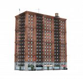 3d rendering of a red brick apartment building with fire escapes and shops on the ground floor. Living places. Urban residence. Condominium. poster