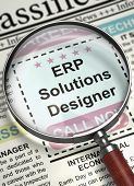 Magnifying Lens Over Newspaper with Jobs Section Vacancy of ERP Solutions Designer. Column in the Newspaper with the Vacancy of ERP Solutions Designer. Job Search Concept. Blurred Image. 3D. poster