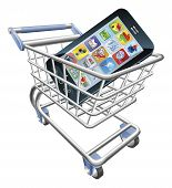 An illustration of a shopping cart trolley with smart phone mobile phone poster