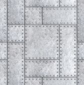 armoured metal plates with rivets background or texture 3d illustration poster