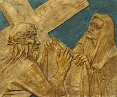 6th Station of the Cross - Veronica wipes the face of Jesus poster