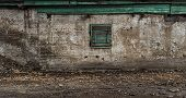 Shed for coal. Old outbuildings. Grunge background. poster