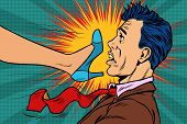 girl power, woman fights with a man. Gender conflicts and inequality. Pop art retro vector illustration poster
