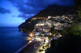 Evening view of Positano Amalfi Coast Campania Italy.