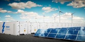 Concept Of Energy Storage System. Renewable Energy Power Plants - Photovoltaics, Wind Turbine Farm A