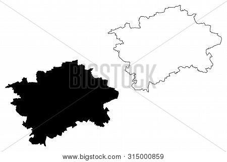 Prague Region (bohemian Lands, Czechia, Regions Of The Czech Republic) Map Vector Illustration, Scri