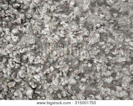 Crushed Stone, Frozen Beton, Floor, Wall, Background.