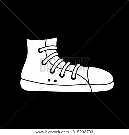 Cute Cartoon Sneaker Illustration. Funny Vector Black And White Sneaker Illustration. Isolated Monoc