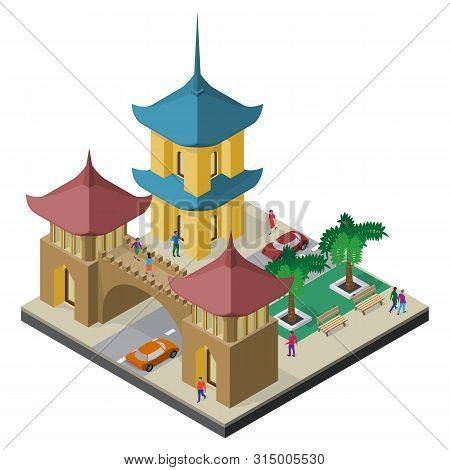 Pagoda, Architectural Arch, Roadway, Benches, Trees, Cars And People. Isometric East Asia Cityscape.