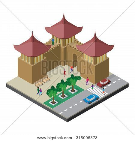 Fortress Wall, Benches, Trees, Roadway, Cars And People. Cityscape In Isometric View.