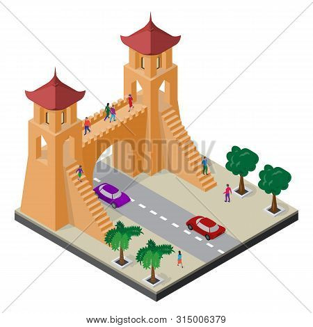 Fortress Gate, Trees, Roadway, Cars And People. Isometric East Asia Cityscape.