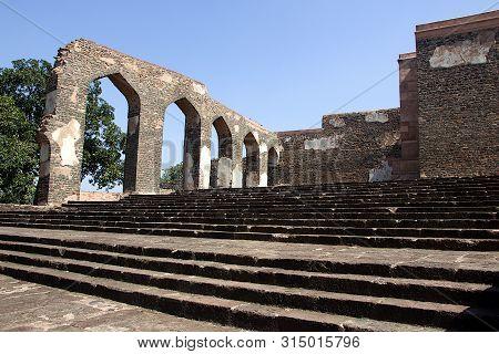 Stone Built Arched Entrances At Royal Enclave In Mandu, Madhya Pradesh, India, Asia