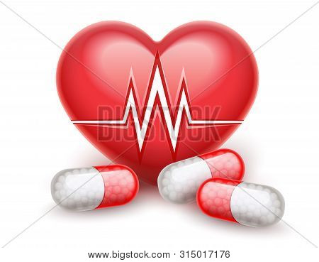Red Heart Health Treatment Pills Drugs. Heart Attack Icon With Heartbeat Cardiogram Graph Line. Real
