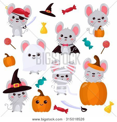 Vector Set Of Mouse Characters, Halloween Kawaii Cartoon Style. Rats Dressed Up In Costumes For Hall