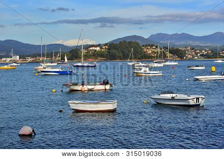 Baiona Bay, Galicia, Spain; Pleasure And Fishing Boats