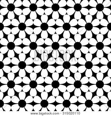 Geometric Seamless Pattern. Black And White Floral Ornamental Background, Repeat Tiles, Circular Flo