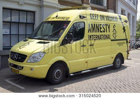 Bus Of Amnesty International In Amsterdam,