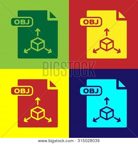 Color Obj File Document. Download Obj Button Icon Isolated On Color Background. Obj File Symbol. Vec